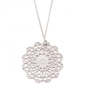 Mandala Kette in Silber rhodiniert matt